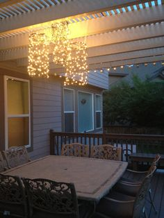 Outdoor chandeliers made from chicken wire and Christmas lights.  Great way to light up a  deck!