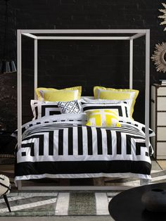 Alex Perry x Linen House  - Lexy Black. Black and white with a pop of yellow.