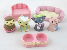 Yummi Land Soda Pop Pets Lot w/ 4 Animals, Bowl, Bed & Bench  #MGA