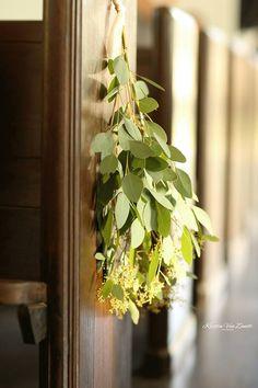 #eucalyptus #pewmarkers Looks beautiful and smells great too! Venue: Sainte Terre, Benton, LA  Photography: Kristin Van Zandt  Florals: Botanical Occasions