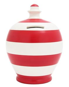 Stripe Money Pot Red and White - C6