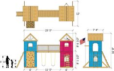 Twin Peaks Play-set Plan - Lilian Lathangue - Re-Wilding Ship Ladder, Backyard Playset, Trap Door, Build A Fort, The Two Towers, Gable Roof, Couch Cushions, Twin Peaks, Entrance