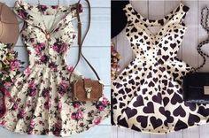 Patrón para confeccionar un vestido de verano entallado a la cintura con escote V y falda acampanada. Tallas desde la 36 hasta la 56.