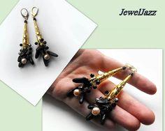 Wire crochet pearl,crystal and  blue goldstone earrings
