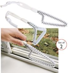 I just ordered these. Needed this so much for windows! Set of 2 track cleaning brushes. Cleans sliding doors, windows & shower doors with ease. Angled brushes remove dirt, mold, and soap scum in those hard-to-clean tracks. Set includes one corner brush and one wider track brush. Durable polypropylene handles with hanging cord. $15.00