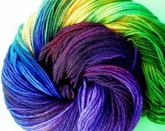 Cashmere sock yarn, hand dyed yarn, hand painted yarn, hand dyed sock yarn, color Bright Jewel, 100 gms 435 yds.