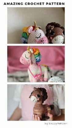 2 in 1 PONIES Unicorn and Horse crochet PATTERN amigurumi licorne rainbow pattern crochet pony horse baby toy nursery unicorn by LoopyPattern crochet heart