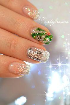 nail art christmas tree snowflake