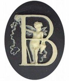 "Item#138x Acrylic 40x30 black/ivory letter ""B"" cameo"