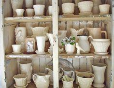 Vintage White Pottery Collection.at chippy shabby. http://chippyshabby.blogspot.com/2014/02/vintage-beaded-flowers.html