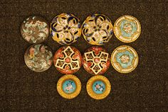 Five Pair Enameled Buttons