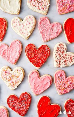 Heart Shaped Cookies Celebrate Valentine's Day with these sweet, heart-shaped cookies. Get the recipe at .Celebrate Valentine's Day with these sweet, heart-shaped cookies. Get the recipe at . Valentines Day Cookies, Homemade Valentines, Valentines Day Treats, My Funny Valentine, Kids Valentines, Birthday Cookies, Heart Shaped Cookies, Heart Cookies, Heart Shaped Sugar Cookies Recipe