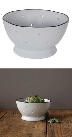 Don't strain yourself searching for exotic kitchen must-haves. Keep it simple instead. This ceramic colander is shaped by hand for a rustic nod to artisan charm. A decorative blue rim gives it a modern...  Find the Ceramic Sieve, as seen in the Light & Airy Farmhouse Collection at http://dotandbo.com/collections/light-and-airy-farmhouse?utm_source=pinterest&utm_medium=organic&db_sku=119049