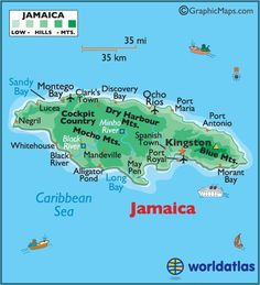 Jamaica--island nation in the Caribbean. Jamaican food - mixture of Caribbean dishes with local dishes. for Bob Marley, for reggae. also will visit nearby places, puerto rico etc. Jamaica Island, Jamaica Map, Montego Bay Jamaica, Jamaica Vacation, Jamaica Travel, Barbados, Jamaica Honeymoon, Jamaica Hotels, Jamaica Ocho Rios