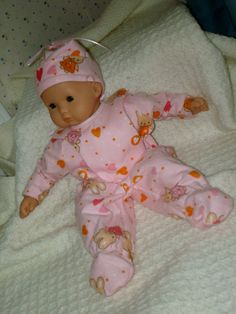 15 Inch Baby Doll Pink Flannel Bunny Print One by SewSweetDaisy