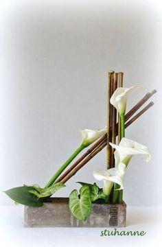 Bildergebnis für ikebana compositions en pas a pas Contemporary Flower Arrangements, Tropical Flower Arrangements, Creative Flower Arrangements, Church Flower Arrangements, Arte Floral, Deco Floral, Design Floral Moderne, Modern Floral Design, Arrangements Ikebana