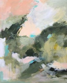 large abstract painting green and peach colors acrylic on wood