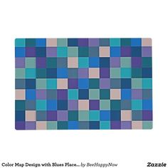 Color Map Design with Blues Placemats