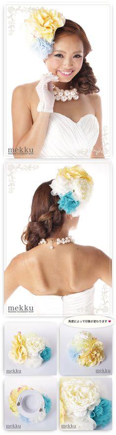 【花飾り】【ヘッドドレス】お花ウェディングハット ブルー/ウェディングアクセサリー~mekku~【メック】