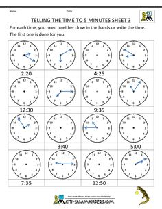 Time Worksheet O'clock, Quarter, and Half past