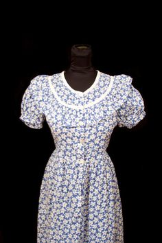 1940's Dress // Feedsack Blue and White Puff Sleeve Long Dress