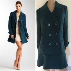 I just discovered this while shopping on Poshmark: NWOT Kensie Teal Dress Double Breast Coat. Check it out! Price: $40 Size: L