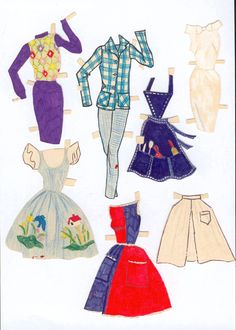 Barbie and Skipper paper doll clothes / paaklaed.com