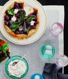 Australian Gourmet Traveller recipe for roast baby beetroot, goat's curd and rosemary tart.