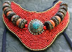 Beaded necklace. Tibetan or Nepalese by AnythingDiscovered on Etsy, $98.00