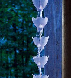 Calhas verticais feitas de garrafa pet