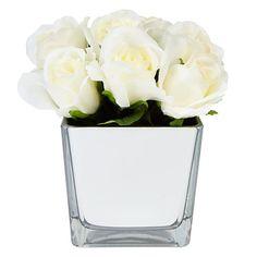 Mirrored floral centrepiece....simple, flowers, pretty, centrepiece, white!