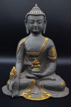 Antique Crystal Gilt Hand Carving Menla Medicine Buddha Medical God Sculpture Antiques