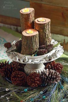 Tea Light Pillar Candles DIY: Christmas Log Tea Light Pillar Candles with Tutorial!DIY: Christmas Log Tea Light Pillar Candles with Tutorial! Christmas Log, Christmas Time, Diy Candles, Pillar Candles, Garden Candles, Wood Crafts, Diy And Crafts, Dollar Store Crafts, Tea Light Holder