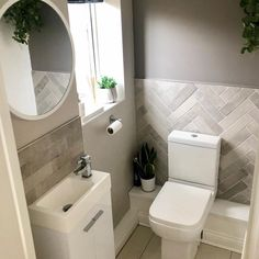 Cloakroom Toilet Small, Small Downstairs Toilet, Small Toilet Room, Downstairs Bathroom, Small Bathroom, Bathroom Toilets, Basement Remodeling, Bathroom Interior Design, Bathroom Inspiration