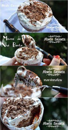 mousse nha benta, mousse de chocolate com cebertura de marshmallow. O resultado? Mousse Nha Benta da kopenhagen!