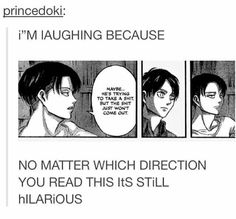 It's been a while since I read this part of the manga but it's still makes me laugh (*≧▽≦)ノシ)) #AOT