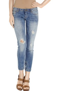 Distressed cropped low-rise skinny jeans by Dolce & Gabbana