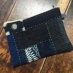 Japanese Boro Zipper Bag, Zipper Bag, Clutch Bag, Makeup Purse, Zipper Pouch, Indigo Bag, Sashiko Bag, Boro Bag, Boro Purse, Hand Sewing Bag