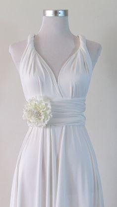 Simple wedding Dress, Convertible Dress in White Wedding Bride Infinity Dress Multiway Dress pastel white light Wrap dress