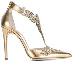 wholesale dealer 96f60 bc289 Rene Caovilla Shoes, Metallic Heels, Metallic Leather, Real Leather,  Embellished Heels,
