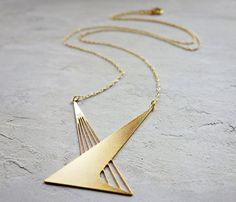 Long collier de Calatrava, géométrique collier, collier de signature, bijoux architecturaux,