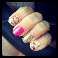 Jamberry combo manicure...sweet symphony,  haute pink and metallic gold pinstripe