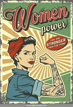 Buy Vintage Woman Power Poster by imogi on GraphicRiver. Vintage woman power colorful poster with pin up strong pretty girl with tattoo on arm vector illustration Foto Poster, A4 Poster, Poster Wall, Poster Prints, Bedroom Wall Collage, Photo Wall Collage, Images Vintage, Vintage Ads, Vintage Woman
