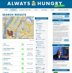 one of the challenges 'always hungry ny' set out to solve was 'the problem of New Yorkers being forced to choose between a few pre-defined, and often inflexible, neighborhoods when looking for restaurants on most other sites.'    the solution was to allow individuals to draw their own neighborhoods based on where they are or wish to go...pros: you can zoom into a very specific area. cons: you can only drag only in a box...it would be nice to have a point of reference and radiate from that…