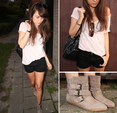 Zara Ankle Buckle Booties, Cheap Monday (Diy) Black Shorts, Zara Bag