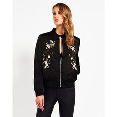 Fashion Union Embroidered Bomber Jacket (£45) ❤ liked on Polyvore featuring outerwear, jackets, zipper jacket, silver bomber jacket, bomber jacket, zip pocket jacket and zip bomber jacket