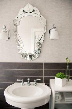 modern tile, ornate mirror
