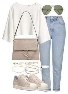 """Untitled #2368"" by theeuropeancloset ❤ liked on Polyvore featuring Topshop, H&M, Chloé, Ray-Ban, adidas, Kendra Scott, ASOS and Jennifer Zeuner"