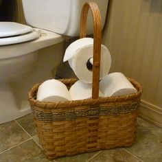 Toilet Paper Tote Basket by joannascollections on Etsy, $56.00