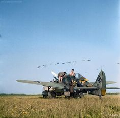 Stuka dive-bombers fly over, Immola, 1944